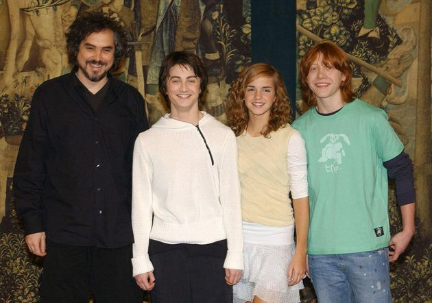 Alfonso Cuarón, Daniel Radcliffe, Emma Watson and Rupert Grint at the London premiere of