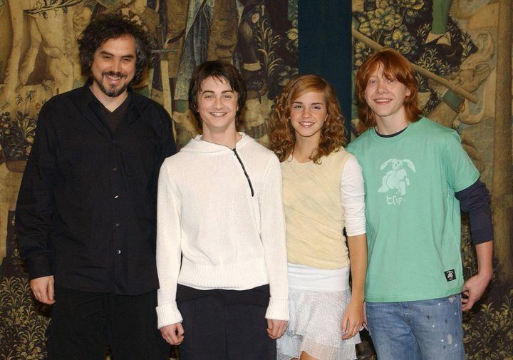 "Alfonso Cuarón, Daniel Radcliffe, Emma Watson and Rupert Grint at the London premiere of ""Harry Potter and the Prisone"