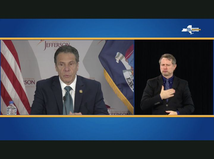Faced with a lawsuit, New York Gov. Andrew Cuomo (D) on Wednesday finally began providing an on-screen American Sign Language