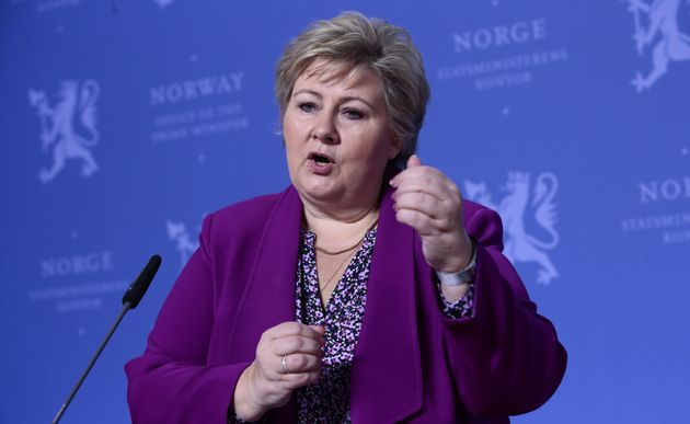 Norway's Prime Minister, Erna Solberg, speaks at a press conference in Oslo, Norway, March 16, 2020. Norway's...