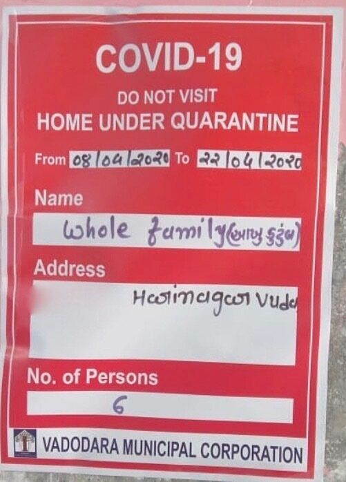 Notice pasted by the Vadodara Municipal Corporation officials outside the caregiver's house while imposing...