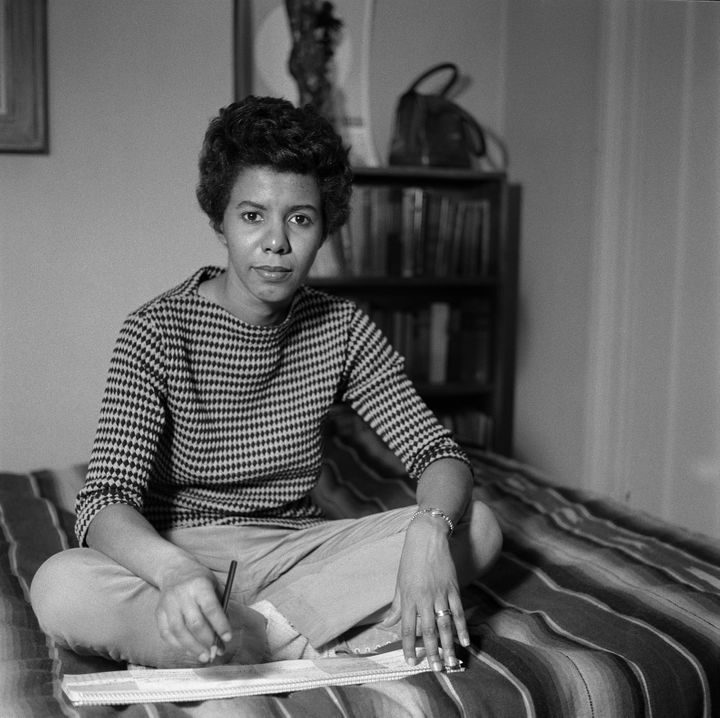 Lorraine Hansberry in her apartment on Bleecker Street in New York City in 1959.