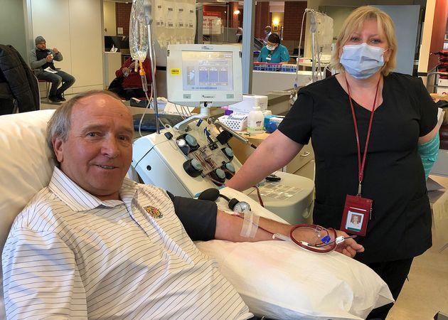 Richard Carl donated his plasma at a Canadian Blood Services location in Toronto on May 1, 2020 for a...