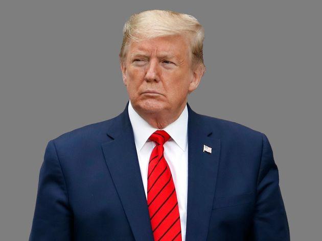 Donald Trump, as US President, during a novel coronavirus news conference in White House Rose Garden,...