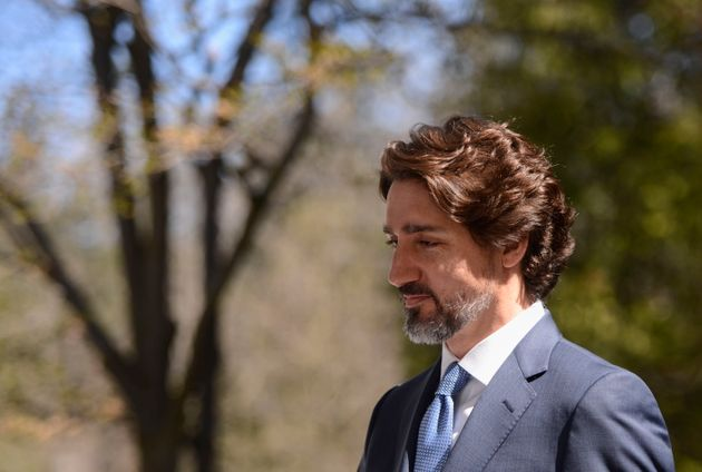Prime Minister Justin Trudeau takes part in a press conference at Rideau Cottage during the COVID-19...