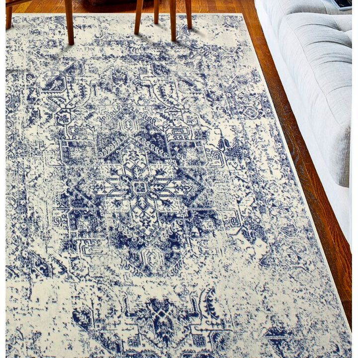 Arlingham Abstract Ivory/Blue Area Rug