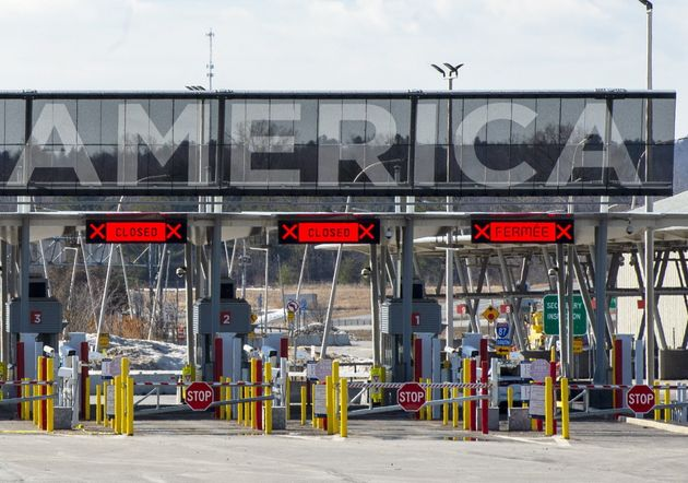 The United States border crossing is seen on March 18, 2020 in Lacolle,