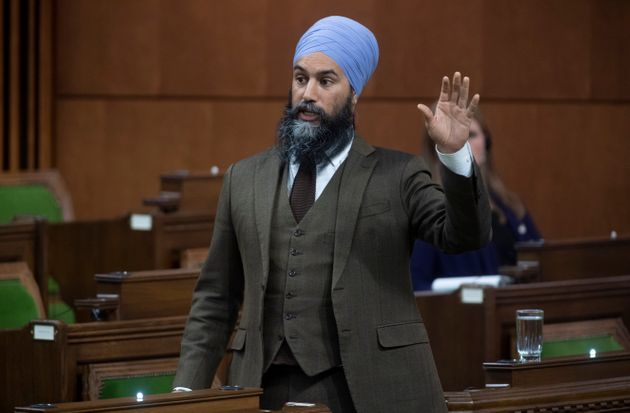 NDP leader Jagmeet Singh rises during a sitting of the House of Commons on April 29,