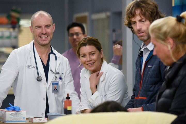 "Richard Flood (left) and Ellen Pompeo on the set of season 16 of ABC's ""Grey's Anatomy."""