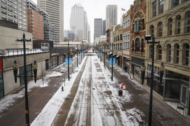 Empty downtown streets in Calgary on Mar. 18, 2020, amid a worldwide COVID-19