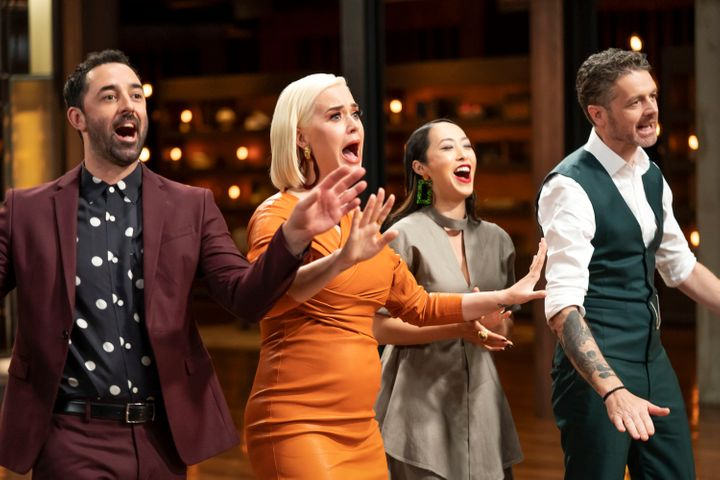 Katy Perry on 'MasterChef Australia: Back To Win' with judges Andy Allen, Melissa Leong and Jock Zonfrillo