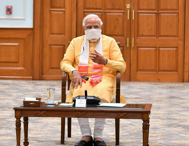 Prime Minister, Narendra Modi during a meeting of the National Disaster Management Authority in New Delhi,...