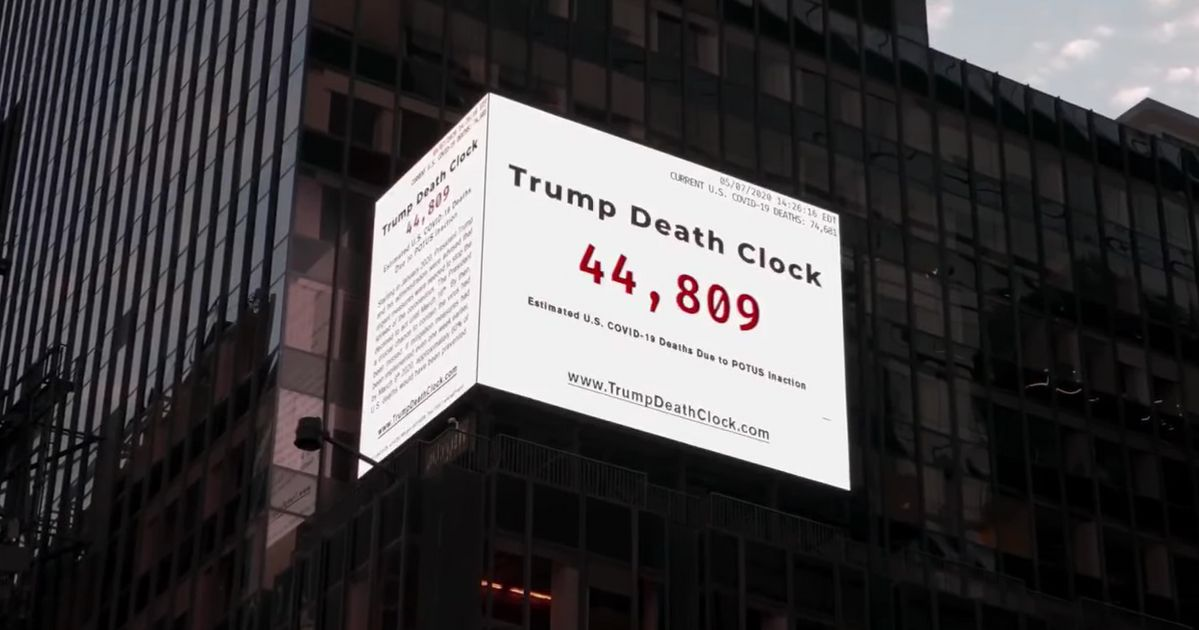 'Trump Death Clock' In Times Square Is Grim Reminder Of Preventable Virus Deaths