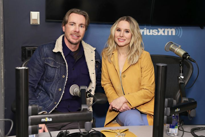 Actors Dax Shepard and Kristen Bell visit the SiriusXM Studios on February 25, 2019 in New York City.