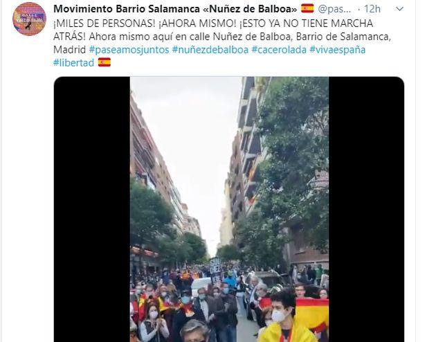 El tuit con los manifestantes de este
