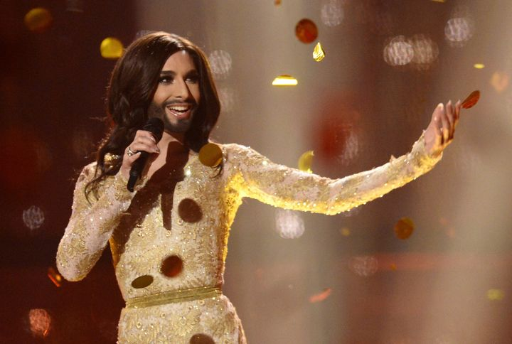 """Conchita Wurst representing Austria performs the song """"Rise Like A Phoenix"""" after winning the Eurovision Song Contest 2014 Grand Final in Copenhagen, Denmark, on May 10, 2014. AFP PHOTO/JONATHAN NACKSTRAND (Photo credit should read JONATHAN NACKSTRAND/AFP via Getty Images)"""