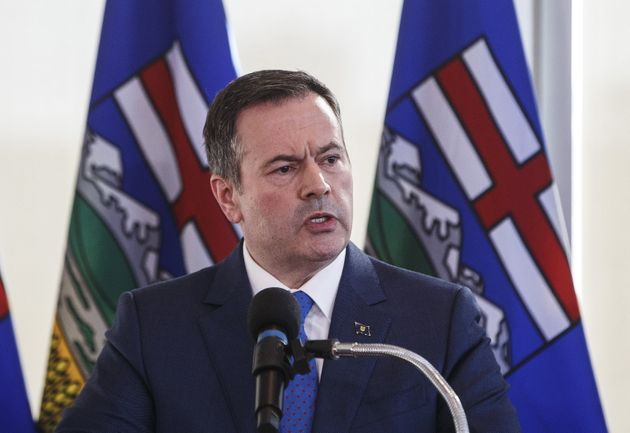 Alberta Premier Jason Kenney speaks during a press conference in Edmonton on February 24,