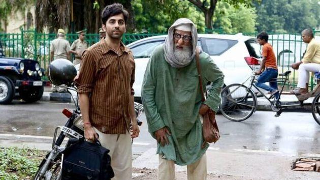 Ayushmann Khurrana and Amitabh Bachchan in a still from 'Gulabo