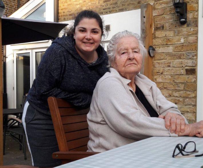 Sophia Marcou and her grandmother,Christina