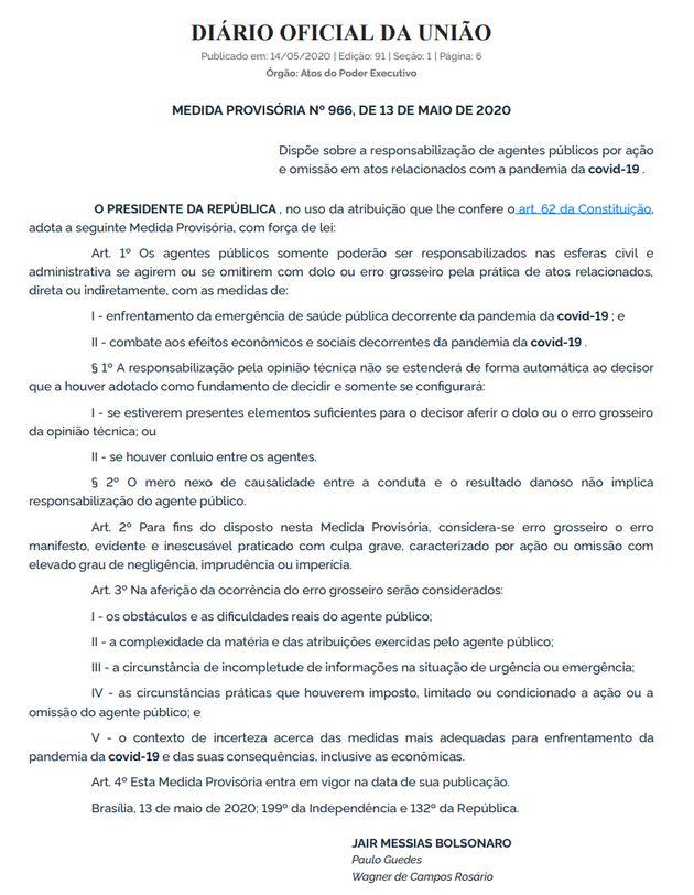 5ebd4540300000451a155fb8 - Bolsonaro edita MP para isentar agentes públicos por erros no combate à pandemia