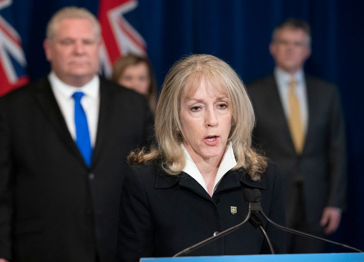 Ontario Minister of Long-Term Care Merrilee Fullerton answers questions about the province's response to COVID-19 at Queen's Park in Toronto on March 30, 2020.