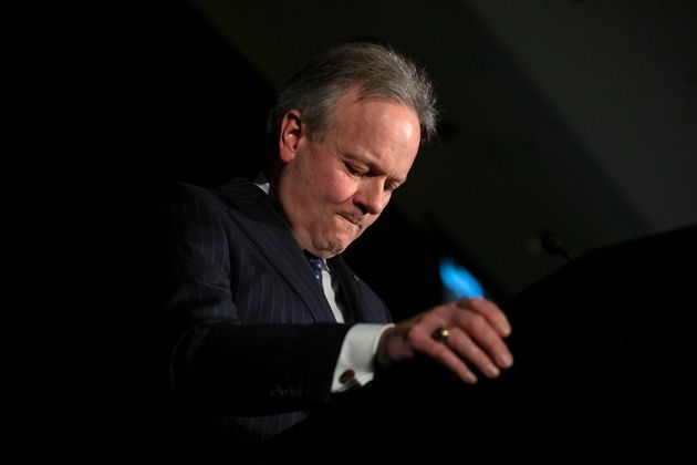 Bank of Canada governor Stephen Poloz pauses while speaking in Toronto, Thurs. March 5,