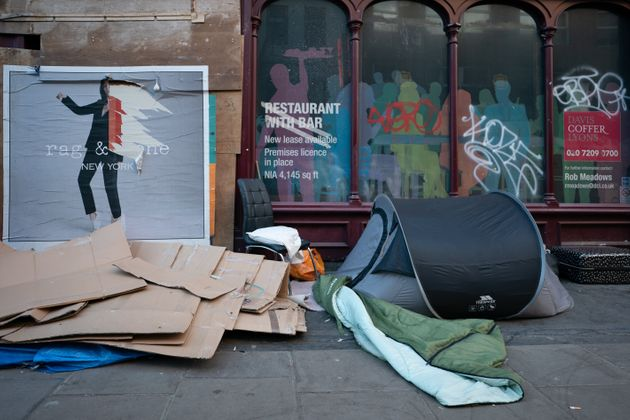 A homeless person's tent in London in