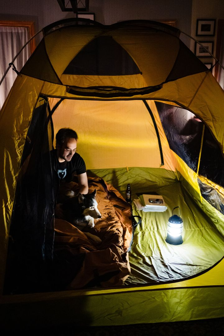Nicole Chan Loeb and her husband Jason decided to bring their love of camping indoors during quarantine life.