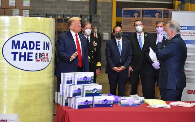 President Donald Trump visits medical supply distributor Owens & Minor in Allentown, Pennsylvania,...