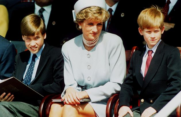 The Princess of Wales with her sons Prince William and Prince Harry attend the Heads of State VE Remembrance...