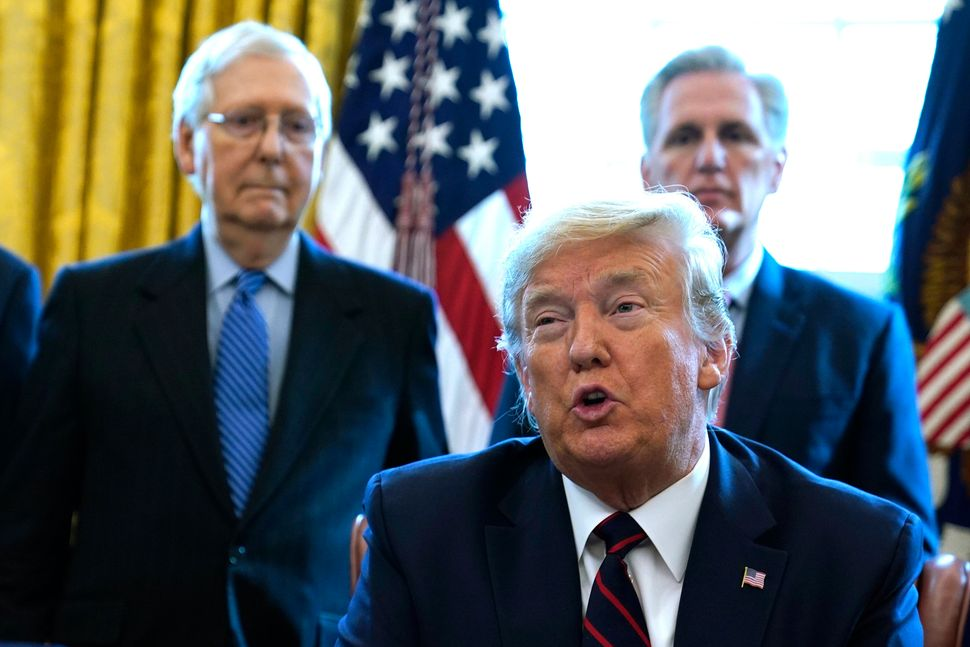 President Donald Trump and Senate Republican leader Mitch McConnell (far left) publicly oppose relief funding for states as t