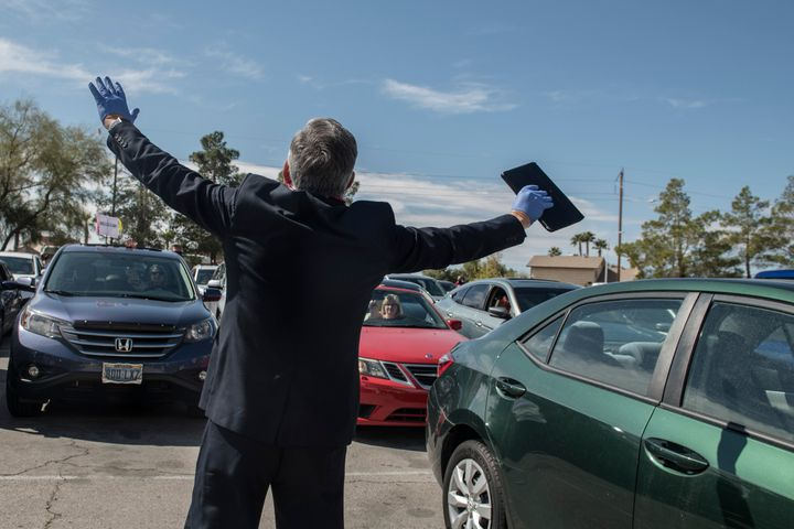 A pastor leads a drive-in Easter service during the coronavirus pandemic in Las Vegas, Nevada, on April 12.