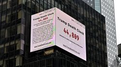 「トランプ死の時計」がニューヨークに登場。死ななくてもよかった人の数を、刻々とカウントする