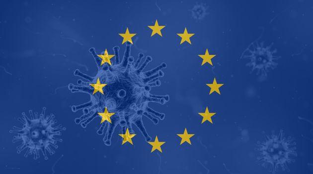 Coronavirus, flag of European Union. Epidemic covid-19 in European