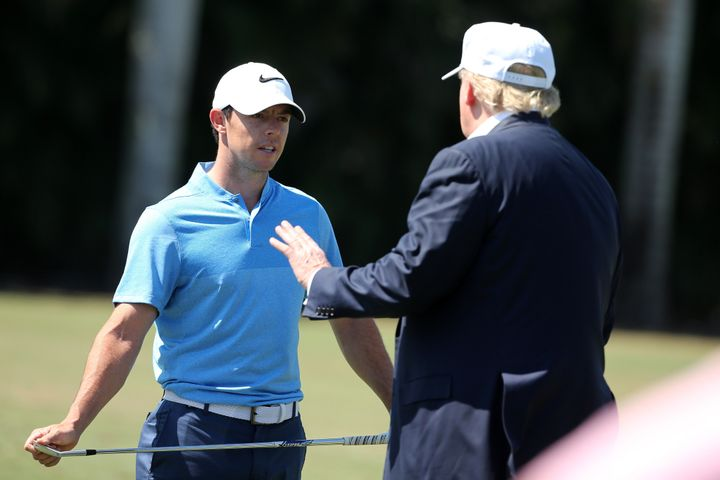 Then-presidential candidate Donald Trump greeted golfer Rory McIlroy at the World Golf Championships-Cadillac Championship at