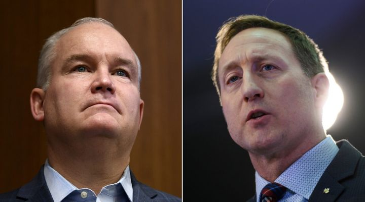 Conservative leadership hopefuls Erin O'Toole and Peter MacKay are shown in a composite of photos from The Canadian Press.