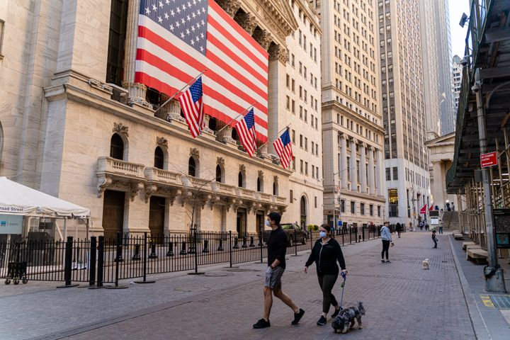 The New York Stock Exchange on Wall Street is deserted because of the COVID-19 pandemic.