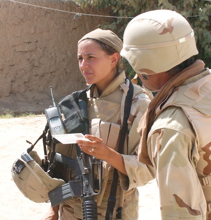 Duffy working as an Army intelligence collector in Iraq in 2005.