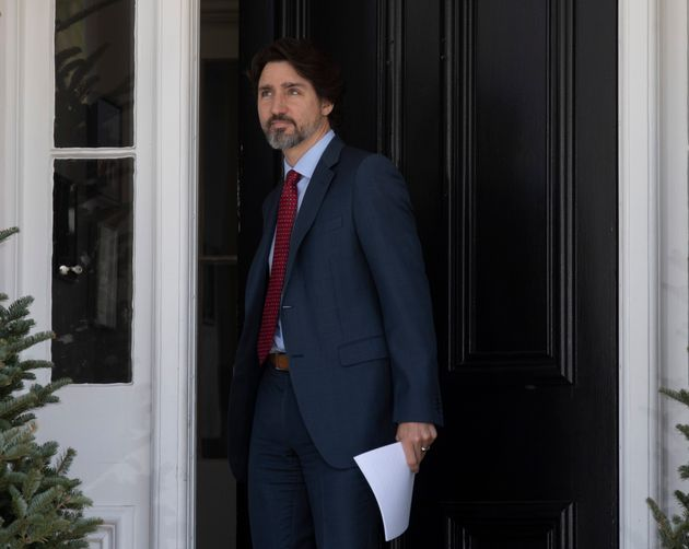 Prime Minister Justin Trudeau steps out of Rideau Cottage for a daily news conference on the COVID-19...