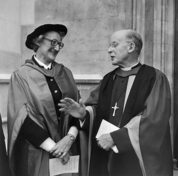 Dame Cicely Saunders receives her doctorate of medicine from Dr. Coggan, Archbishop of Canterbury, at Lambeth Palace in London on April 18,1977. (Photo by Frank Barratt/Keystone/Getty Images)