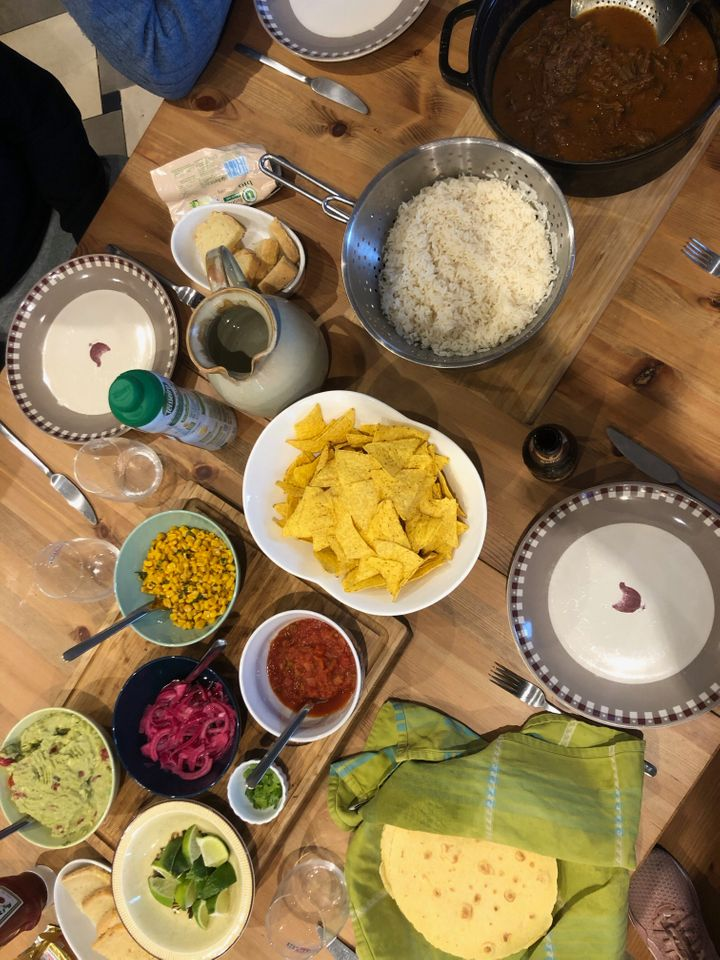 """A Mexican feast that the author cooked for her """"in-laws"""" on April 30, at their house in Alsace, France."""