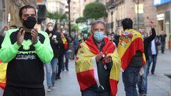 Siguen las protestas en Madrid contra el Gobierno sin respetar la distancia de