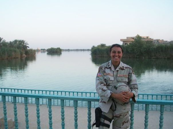 Duffy deployed in Iraq in 2005, pictured in front of a palace in Tikrit.