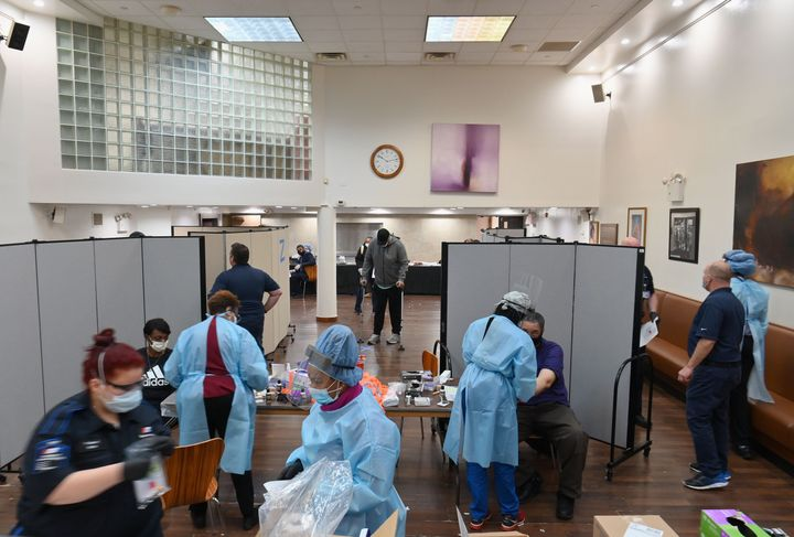 Health care workers test for COVID-19 antibodies Thursday at Abyssinian Baptist Church in the Harlem.