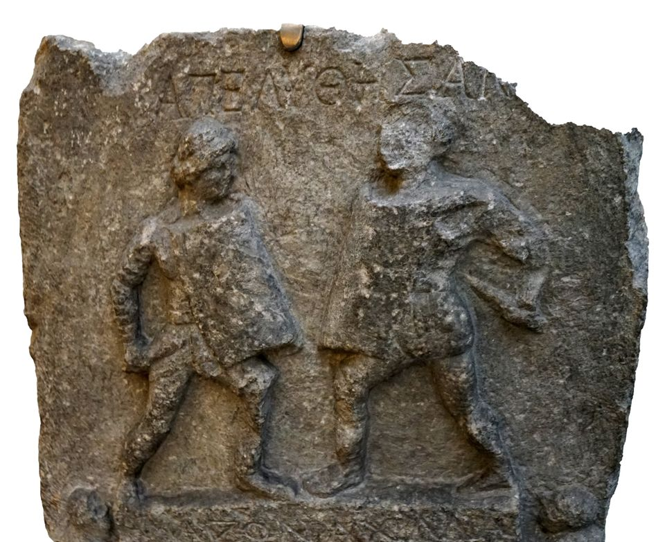 Marble relief depicting two female gladiators, Amazon and Achilia, from Halicarnassus. Dated 1st Century....