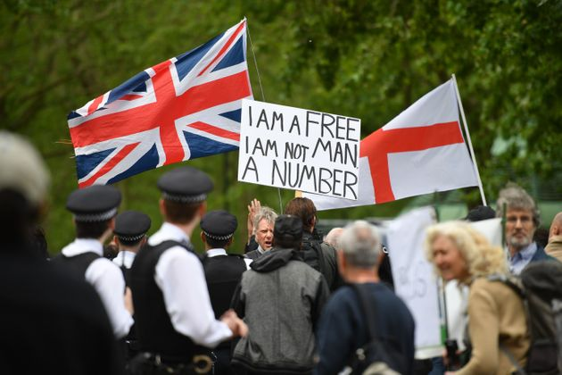 Dozens Of Anti-Lockdown Campaigners Gather In London As Small Protests Take Place Across The UK