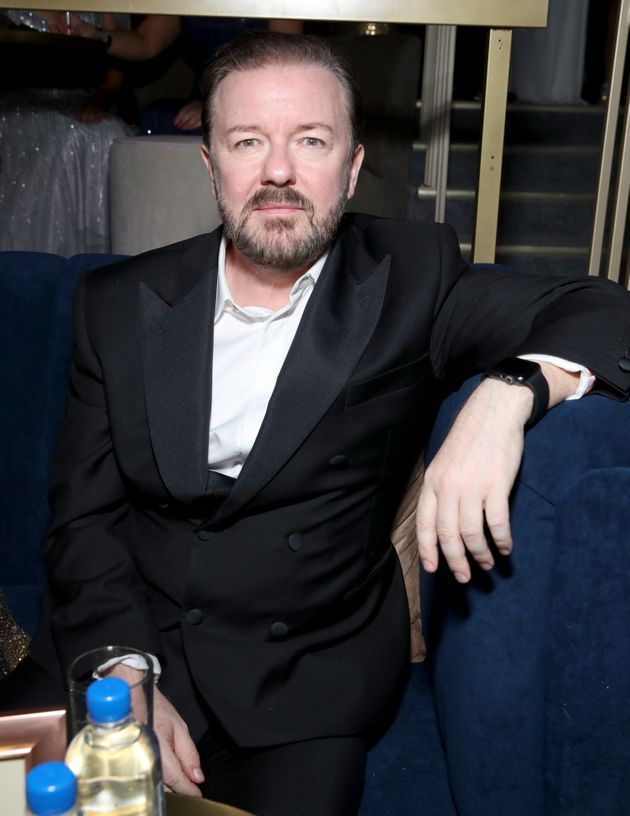 Ricky Gervais pictured after this year's Golden Globes, which he