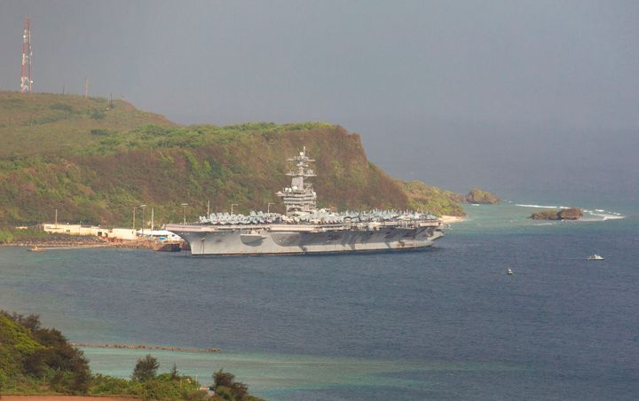 The USS Theodore Roosevelt docked at Naval Base Guam in Apra Harbor on April 27.