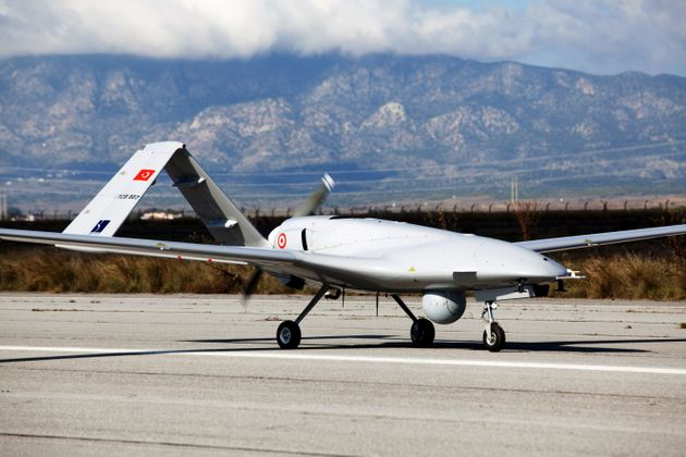 The Bayraktar TB2 drone is pictured on December 16, 2019 at Gecitkale Airport in Famagusta in the self-proclaimed...