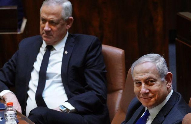 Benny Gantz et Benjamin Netanyahu à la Knesset ce 17